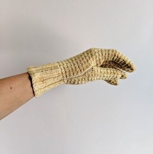 vintage cream colored hand crocheted gloves